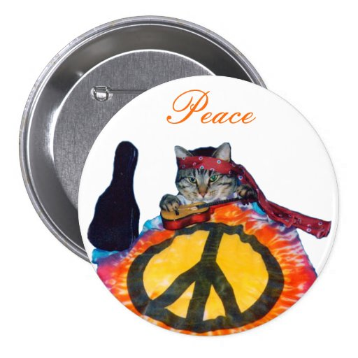Peace Guitar Cat Round Button