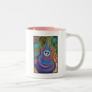 Peace Guitar Two-Tone Coffee Mug