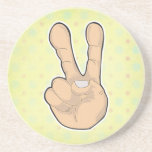 peace hand gesture beverage coaster