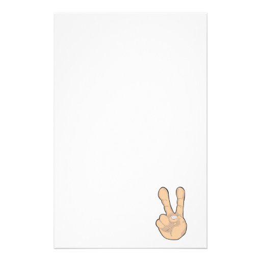 peace hand gesture personalized stationery
