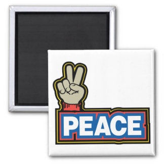 Peace Hand Sign 2 Inch Square Magnet