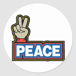 Peace Hand Sign Classic Round Sticker