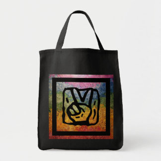 Peace Hand Sign with Bright Rainbow Tote Bag