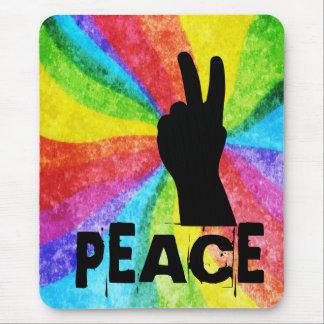 Peace Hand Signal Rainbow Hippie Style Mouse Pad