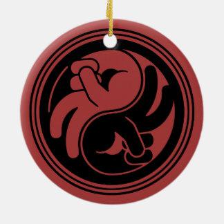 Peace Hand Yin Yang Ceramic Ornament
