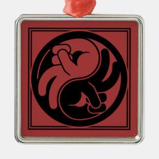Peace Hand Yin Yang Metal Ornament