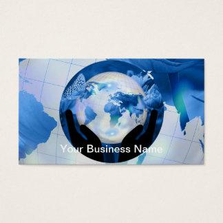 Peace Hands Holding Globe Blue Flowers Butterflies Business Card