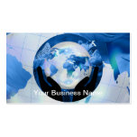 Peace Hands Holding Globe Blue Flowers Butterflies Double-Sided Standard Business Cards (Pack Of 100)