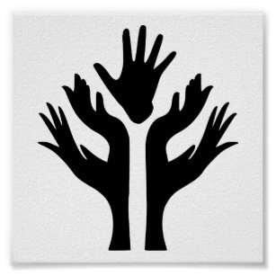 PEACE HANDS UNITY MOTIVATIONAL ICON LOGO SYMBOL POSTER