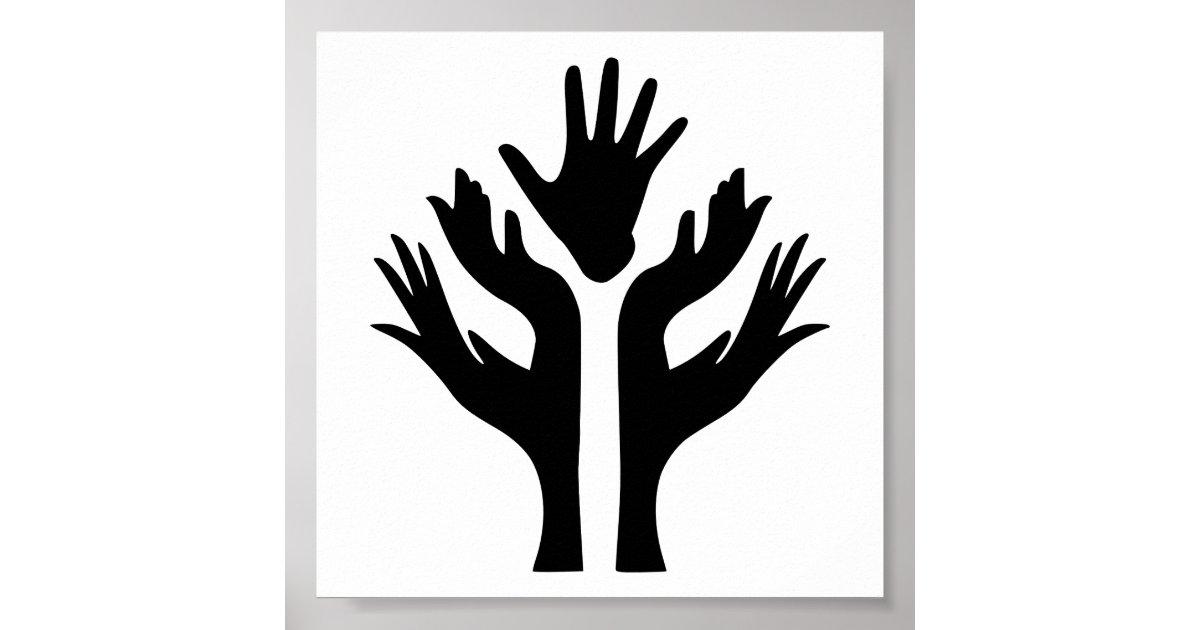 Peace Hands Unity Motivational Icon Logo Symbol Poster Zazzle Com