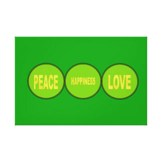 PEACE, HAPPINESS, LOVE CANVAS 13.12.2 GREEN