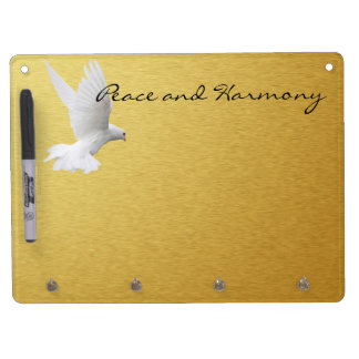 Peace & Harmony Golden Wall Organizer Dry Erase Board With Keychain Holder