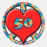 Peace, Heart, 50 Classic Round Sticker