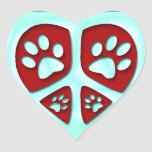 Peace, Heart and Paw Prints Stickers