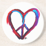 peace heart drink coasters