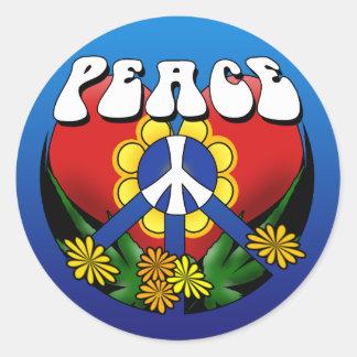 Peace Heart Flower Classic Round Sticker