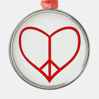 Peace Heart Metal Ornament