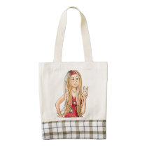 peace, shopping, bag, tote, school, education, hippy, girl, women, teacher, [[missing key: type_heartba]] with custom graphic design