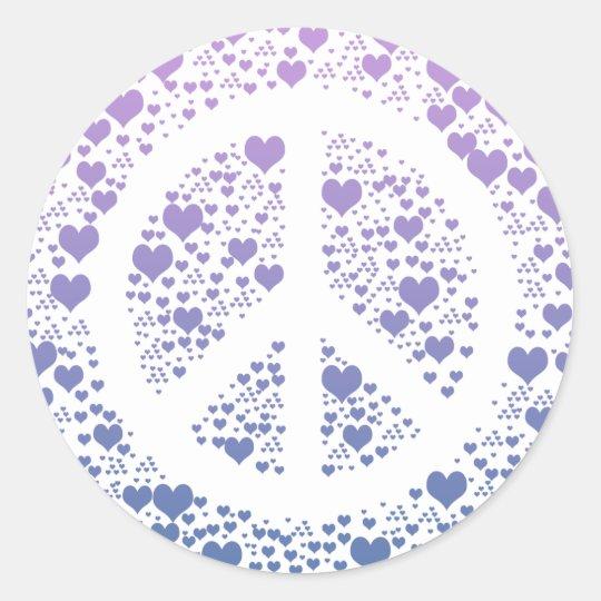Peace Hearts Classic Round Sticker