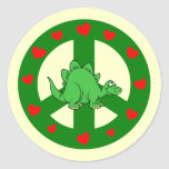 peace hearts dinosaur round stickers