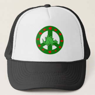 peace hearts dinosaur trucker hat