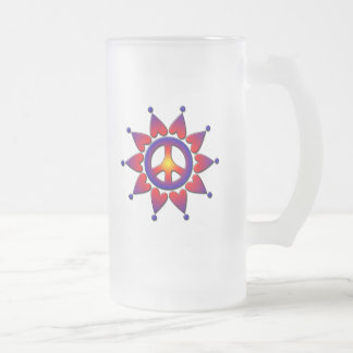 PEACE HEARTS FROSTED GLASS BEER MUG