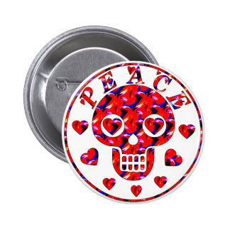Peace Hearts Skull 2 Inch Round Button