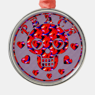 Peace Hearts Skull Round Metal Christmas Ornament