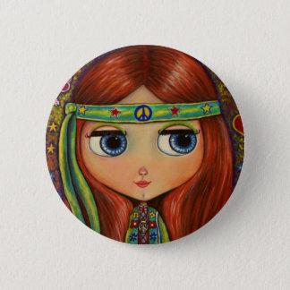 Peace Hippie Doll Button