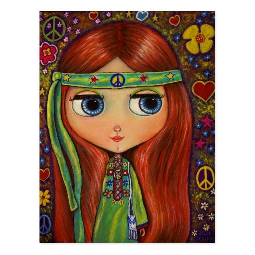 Peace Hippie Doll Postcard