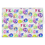 Peace Hippie Groovy Peace Sign Flowers Pattern Greeting Card