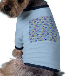 Peace Hippie Groovy Peace Sign Flowers Pattern Dog Tshirt