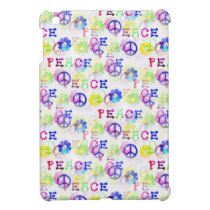 Peace Hippie Groovy Peace Sign Flowers Pattern iPad Mini Cover