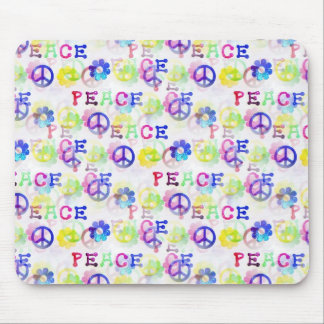 Peace Hippie Groovy Peace Sign Flowers Pattern Mouse Pad