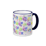 Peace Hippie Groovy Peace Sign Flowers Pattern Coffee Mugs