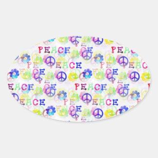 Peace Hippie Groovy Peace Sign Flowers Pattern Oval Sticker