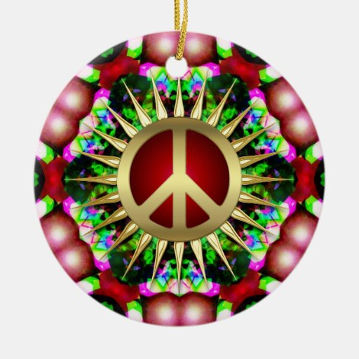Peace Hippie Hexagon Christmas Ceramic Ornament