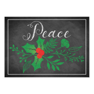 Peace Holiday Card | Faux Chalkboard, Holly