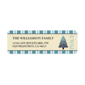 Peace Holiday Return Address Labels (blue)