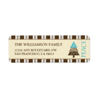 Peace Holiday Return Address Labels (brown)