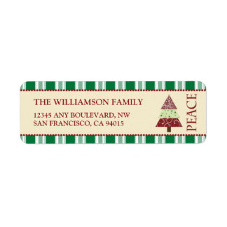 Peace Holiday Return Address Labels (green)