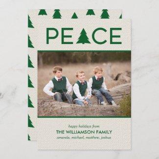 Peace Holiday Tree Custom Photo Beige Green