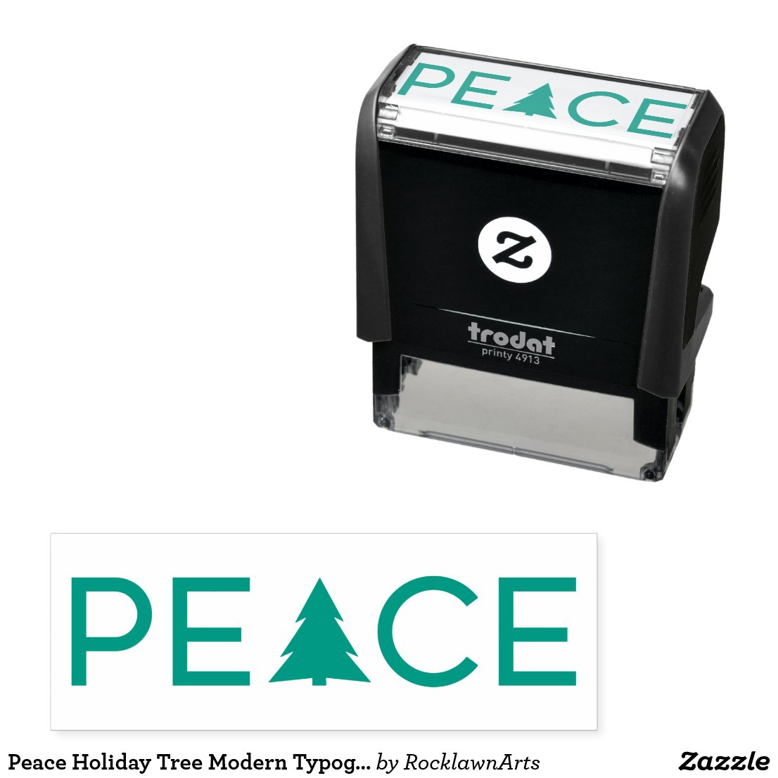 Peace Holiday Tree Modern Typography Self-inking Stamp