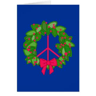 Peace Holly Wreath for Christmas Card