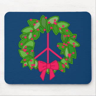 Peace Holly Wreath for Christmas Mouse Pad