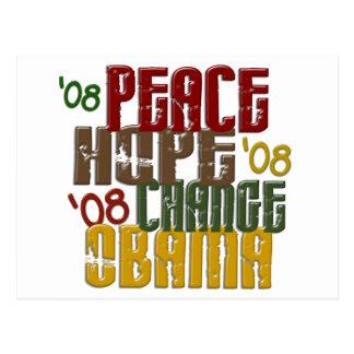 Peace Hope Change Obama 1 Postcard