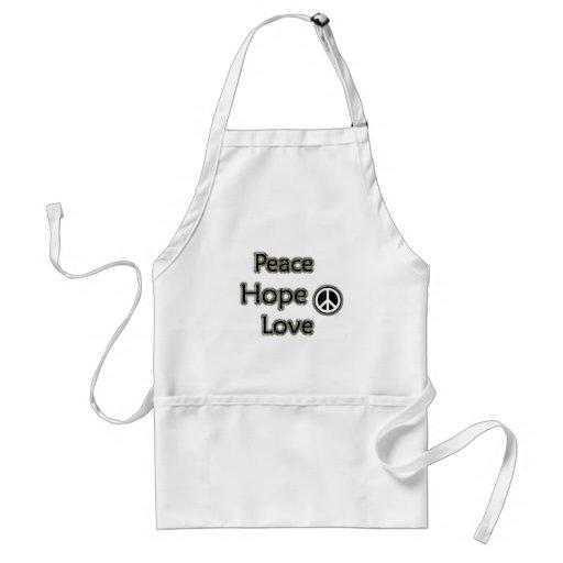 peace hope love adult apron