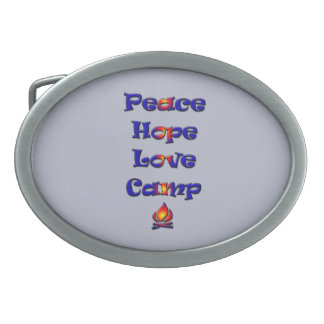 Peace Hope Love Camp! Oval Belt Buckle