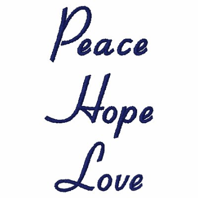 Peace, Hope, Love Embroidered Shirt
