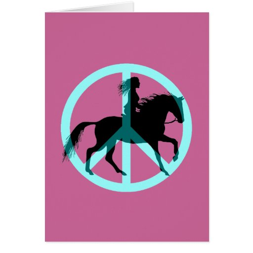 peace horse riding greeting cards